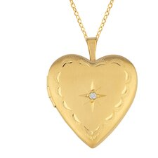 0.01 Carat Heart Shaped Locket with One Diamond Necklace