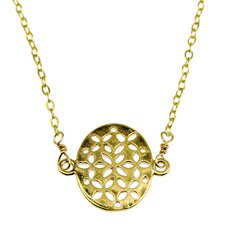 Flat Oval Filligree Off-Center Necklace