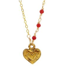 Metal Heart Coral Pendant Necklace