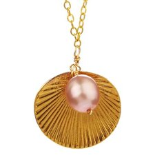 Metal Shell Cultured Pearl Pendant Necklace