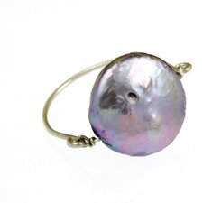 Sterling Silver Round Button Pearl Ring