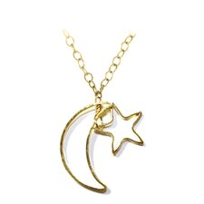 Metal Moon and Stars Pendant Necklace