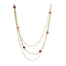 14k Gold 3 Strand Gemstone Necklace