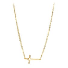 14k Gold Horizontal Cross Dongle Chain Necklace