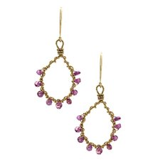<strong>Rafia Jewelry</strong> Rhodolite Garnet Drop Earrings