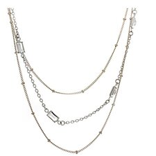 Sterling Silver 3 Strand Rectangle Cut Crystal Chain Necklace
