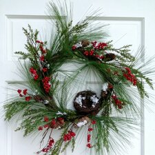 <strong>Mills Floral</strong> Pine Cedar and Red Berry Wreath