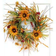 Sunflower and Fall Grass Wreath