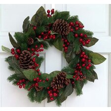Pine Berry and Magnolia Wreath