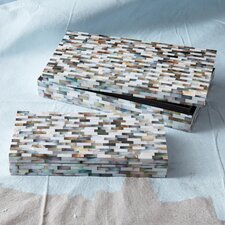 2 Piece Mother of Pearl Mosaic Tiles Covered Box Set