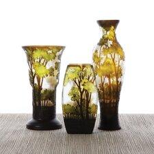 3 Piece Landscapes Hand-Etched Vase Set