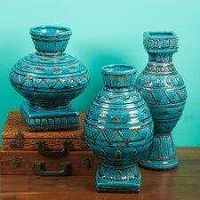 3 Piece Mid-Century Modern Carved Vase Set