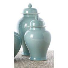 2 Piece Aquamarine Covered Temple Jar Set