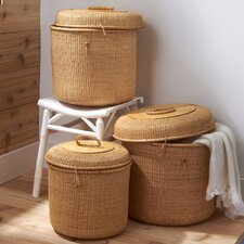 Surabaya Round Wicker Basket with Lid (Set of 3)