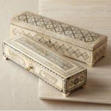 Zanzibar Long Flower Design Bone Inlay Boxes with Lock and Key (Set of 2)