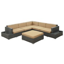 <strong>Modway</strong> Secret Harbour 6 Piece Sectional Deep Seating Group with Cushions