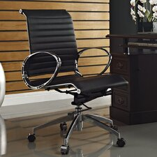 Ribbed Mid-Back Leather Office Chair