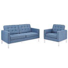 Loft 2 Piece Arm Chair and Loveseat Set
