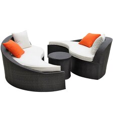 Magatama Outdoor 3 Piece Seating Group with Cushions