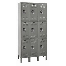 ReadyBuilt Three Wide Triple Tier Locker in Hallowell Gray