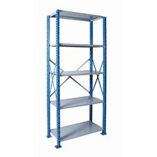 "H-Post Shelving 87"" High Capacity Open Type Starter Unit and Optional Add-on Unit with 5 Shelves"