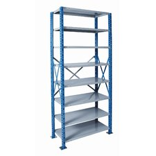 "H-Post Shelving 87"" High Capacity Open Type Starter Unit and Optional Add-on Unit with 8 Shelves"