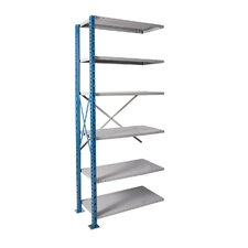 H-Post High Capacity Shelving 6 Adjustable Shelves Add-on Unit Open Style with Sway Braces