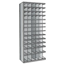 "Hi-Tech Metal Bin Shelving Add-on Unit (66) 6"" W x 6"" H, (12) 6"" W x 9"" H Bins"