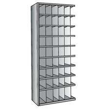 "Hi-Tech Metal Bin Shelving Add-on Unit (48) 6"" W x 9"" H, (6) 6"" W x 12"" H Bins with 3"" Bin Fronts"