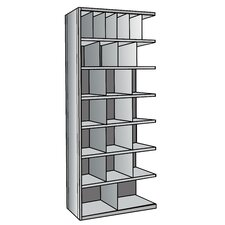 "Hi-Tech Metal Bin Shelving Add-on Unit (6) 6"" W x 12"" H, (4) 9"" W x 12"" H, (12) 12"" W x 12"" H, (2) 18"" W x 12"" H Bins"