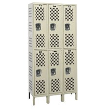 Heavy-Duty Ventilated 3-Wide Double Tier Locker (Assembled) (Quick Ship)