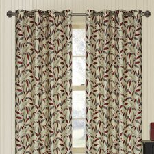 Juniper Branch and Leaf Eyelet Curtain Panel (Set of 2)