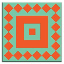 "Folksy Love 4-1/4"" x 4-1/4"" Satin Decorative Tile in Checkers Red/Orange-Green"