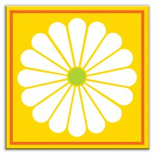 "<strong>Oscar & Izzy</strong> Folksy Love 4-1/4"" x 4-1/4"" Glossy Decorative Tile in Daisy May Yellow"