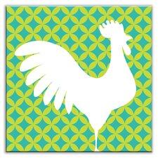 "Folksy Love 4-1/4"" x 4-1/4"" Satin  Decorative Tile in Doodle-Do Green Right"