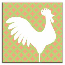 "Folksy Love 4-1/4"" x 4-1/4"" Glossy Decorative Tile in Doodle-Do Pink Right"