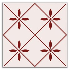 "Folksy Love 4-1/4"" x 4-1/4"" Glossy Decorative Tile in Glass Burgundy"
