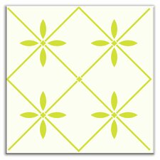 "Folksy Love 4-1/4"" x 4-1/4"" Glossy Decorative Tile in Glass Yellow-Green"