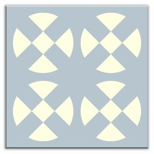 "Folksy Love 4-1/4"" x 4-1/4"" Satin Decorative Tile in Hot Plates Gray-Blue"