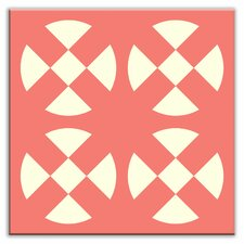 "Folksy Love 4-1/4"" x 4-1/4"" Satin Decorative Tile in Hot Plates Pink"