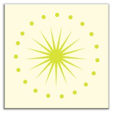 "Folksy Love 4-1/4"" x 4-1/4"" Satin Decorative Tile in June Light Yellow Green"