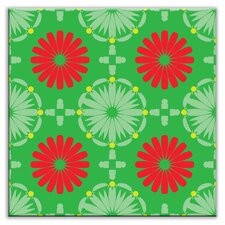 "Folksy Love 4-1/4"" x 4-1/4"" Satin  Decorative Tile in Kaleidoscope Green-Red"