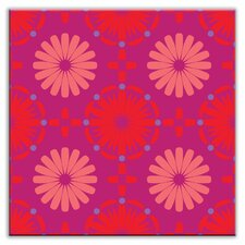 "Folksy Love 4-1/4"" x 4-1/4"" Satin Decorative Tile in Kaleidoscope Red-Purple-Pink"