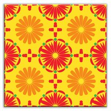 "Folksy Love 4-1/4"" x 4-1/4"" Satin Decorative Tile in Kaleidoscope Yellow-Orange-Red"