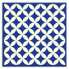 "Folksy Love 4-1/4"" x 4-1/4"" Satin  Decorative Tile in Needle Point Blue"