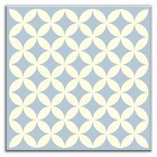 "Folksy Love 4-1/4"" x 4-1/4"" Glossy Decorative Tile in Needle Point Blue Gray"