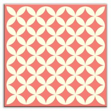 "Folksy Love 4-1/4"" x 4-1/4"" Glossy Decorative Tile in Needle Point Pink"