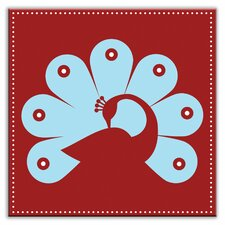 "Folksy Love 4-1/4"" x 4-1/4"" Satin Decorative Tile in Primped Peacock Red-Light Blue"