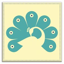 "Folksy Love 4-1/4"" x 4-1/4"" Satin Decorative Tile in Primped Peacock Yellow-Teal"