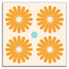 "Folksy Love 4-1/4"" x 4-1/4"" Satin Decorative Tile in Pinwheels Orange"